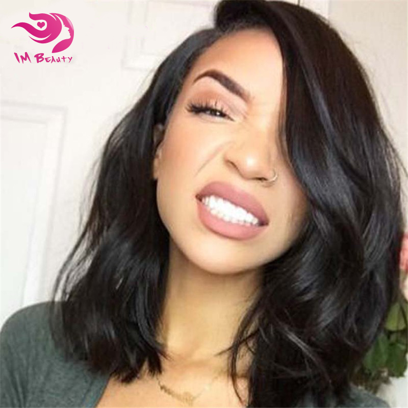 7A Grade Virgin Human Hair Wavy Bob Wig Lace Front Glueless Remy Body Wave Full Lace Wigs With Baby Hair Short Full Lace Bob Wig()