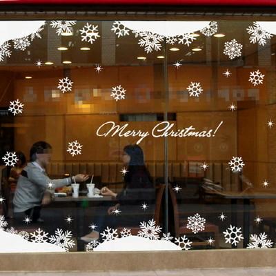 Big Christmas Showcase Glass Sticker Coffee Shop Hotel Windows Wall Sticker New Year Snowflakes Winter Decor Romantic(China (Mainland))