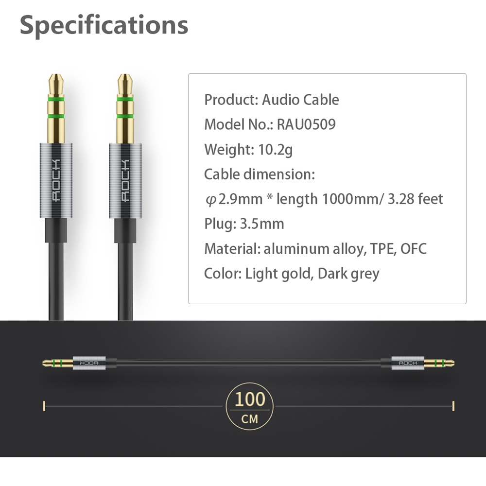 ROCK Male to Male 3.5mm AUX Cable 100cm 3 feet Audio Wire for iPhone iPad iPod Mobile Headphone Loudspeaker MP3 CD Player(China (Mainland))