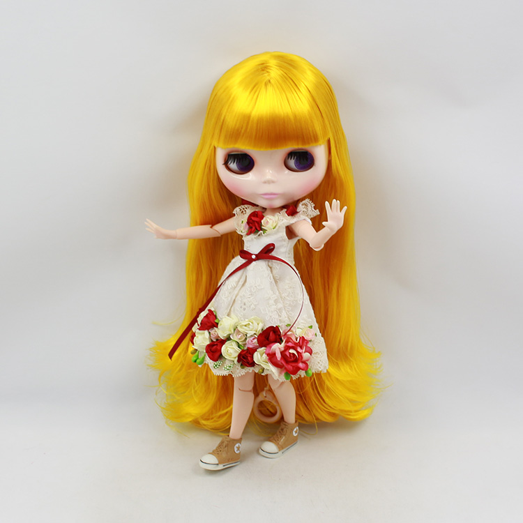 Фотография Blyth nude doll diy blonde long hair with bangs 30cm fashion doll joint body bjd dolls for sale