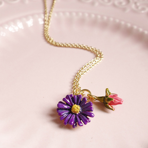 France Purple Daiisy Red Rose Bud Necklace Women Cute Simple Elegant All-match Flowers Necklaces with box free(China (Mainland))