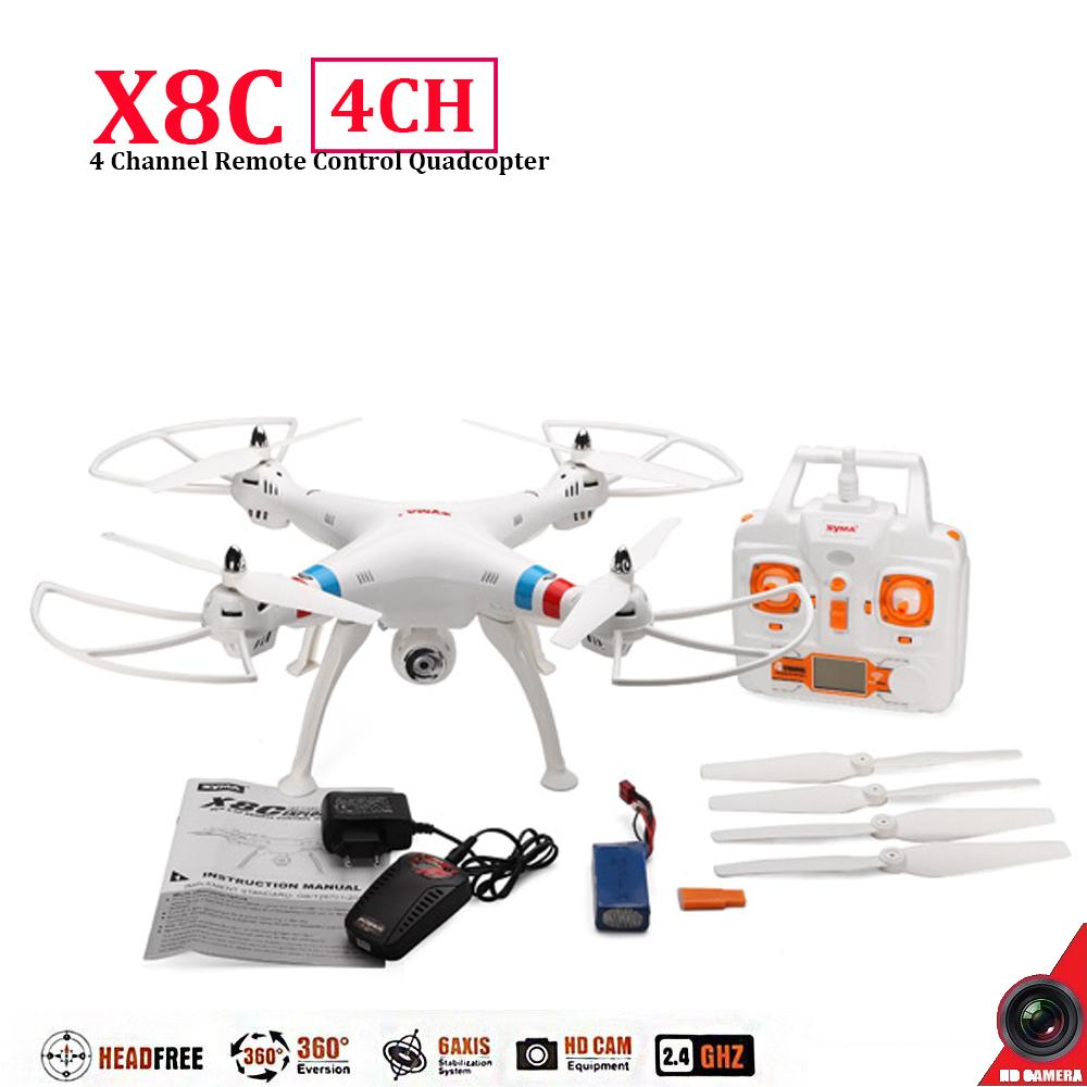 Здесь можно купить  Syma X8C 4CH 2.4G Aerial Big Quadrocopter White Drone with 2 MP HD Camera FPV Real-time Video Quad Copter Wide Angle Camera   Игрушки и Хобби