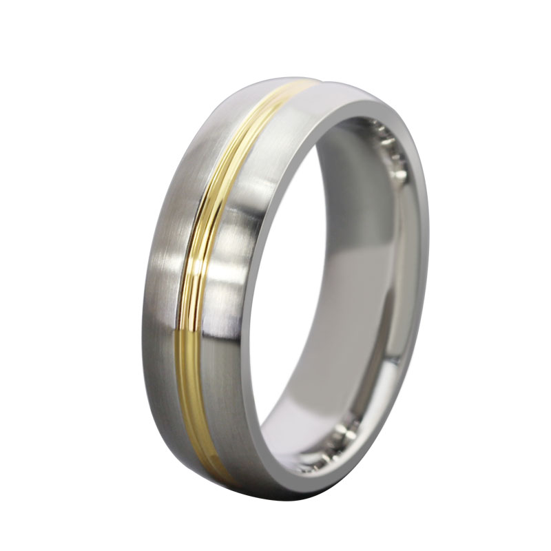 Ring Titanium Steel Ring Unusual Design Styles Ring Single Golden Line Jewelry Wholesale Free Shipping eelp JR-055(China (Mainland))