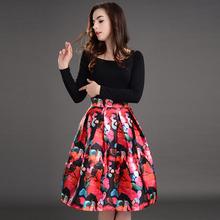 New 2016 women girl spring summer fashion flower prints skirt ball gown pleated midi skirt vintage high waist Skirts