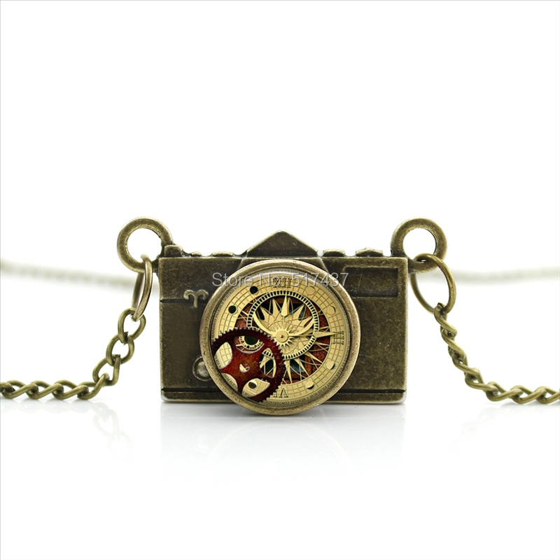 New Arrived DIY Yellow Steampunk Camera Necklace Clock Watch Pendant Jewelry Antique Camera Necklace CA--0184(China (Mainland))