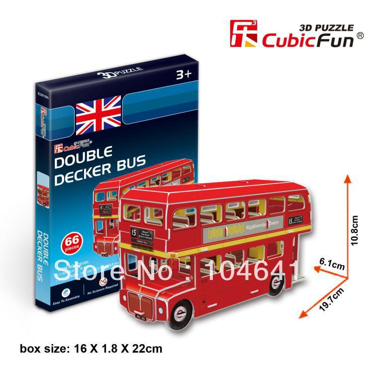 Double Decker Bus CubicFun 3D educational puzzle Paper & EPS Model Papercraft Home Adornment for christmas gift(China (Mainland))