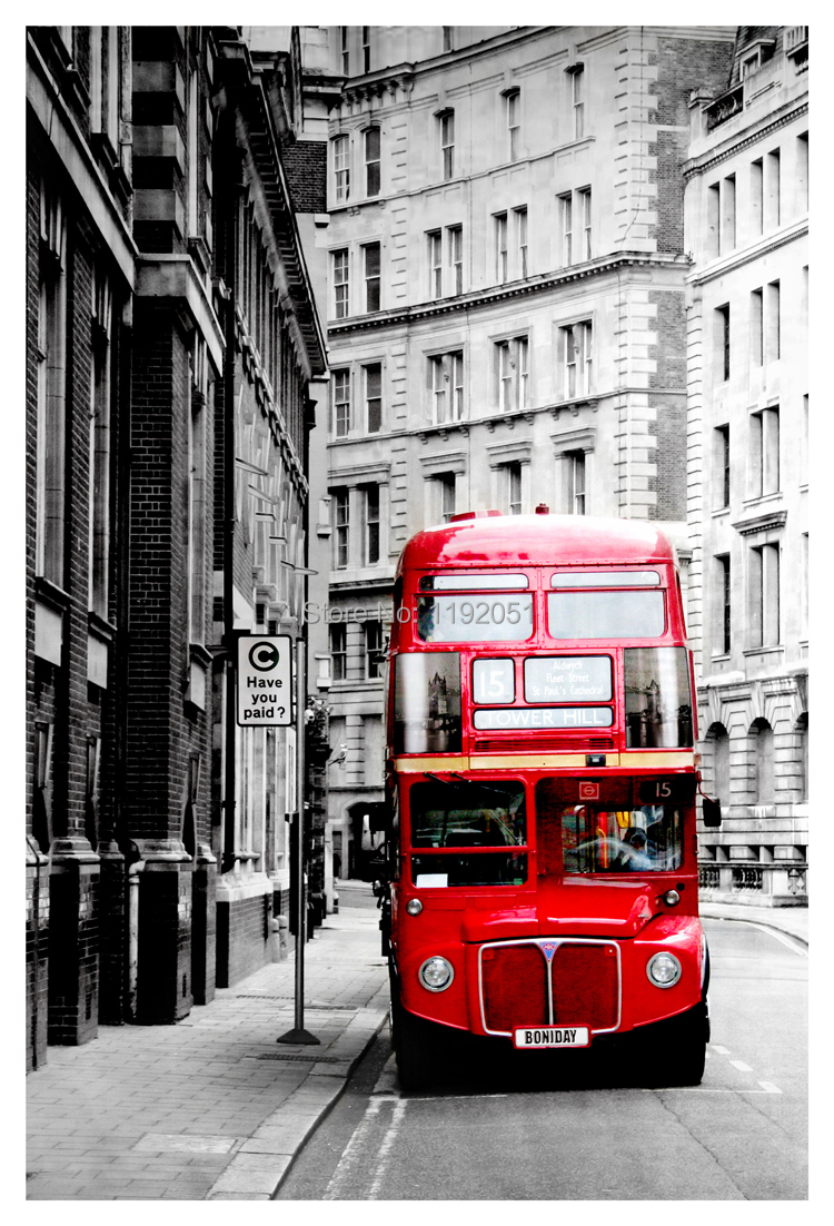 Black and white painting Photography frameless painting London red bus pictures mural painting canvas home decoration(China (Mainland))