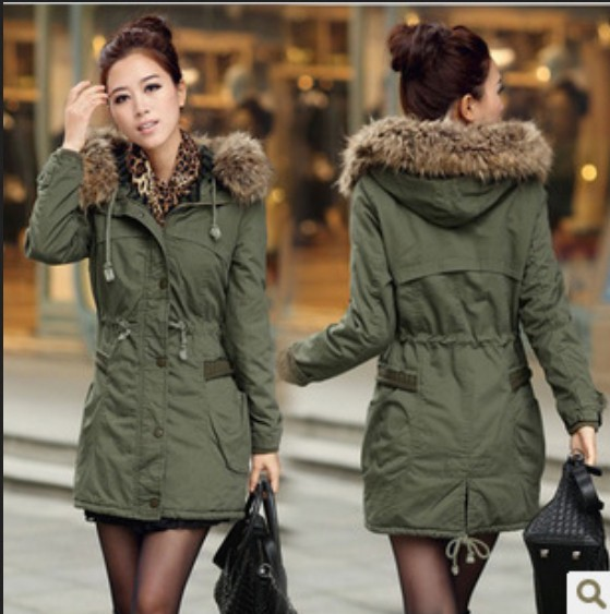 Images of Army Green Jacket With Fur Hood - Reikian