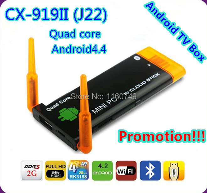 2014 Promotion!1.4GHz 2GB8GB Twin WIFi Stronger Signal CX-919II (J22) RK3188T Quad core Android4.4 TV Box Dual Antenna Mini PC(China (Mainland))