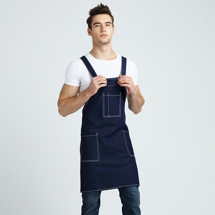 2016 Newest Women Man Cotton Denim Apron Home Kitchen Baking Cafe Shop Waiters Jeans Apron With Pocket Adjustable Bib Wholesale(China (Mainland))
