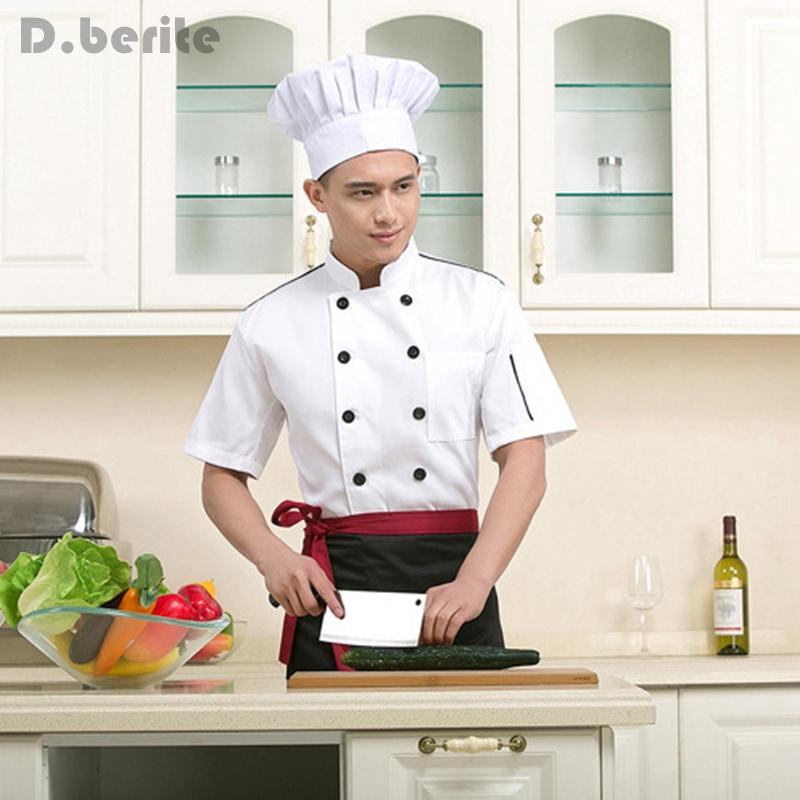 Chef Jacket Coat Chef Uniform Kitchen Short Sleeve Cooker Work Restaurant Jacket