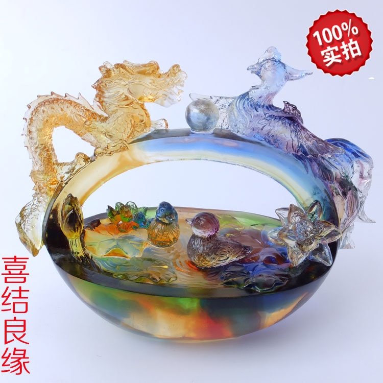 Business activities and creative wedding gift table decorations elegant atmosphere Fulin glass crafts married(China (Mainland))