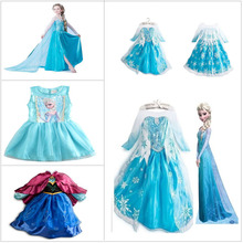 New 2015 Girls Frozen Cartoon Elsa Dress Frozen Princess Dress Children Kids Custom-Made Cosplay Dress DCR05