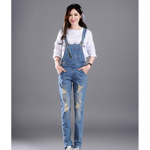 Women Ripped Hole Denim Jumpsuits Ladies Sexy Slim Casual Romper Plus Size Denim Pencil Overalls For 4 season