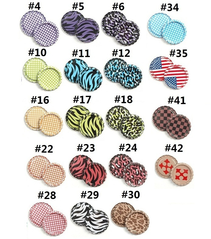 """100pcs/lot 1"""" Double Sided Painted Leopard dot zebra Colored Flattened Bottle Caps DIY Hairbow Hair Bows Necklace Accessories(China (Mainland))"""