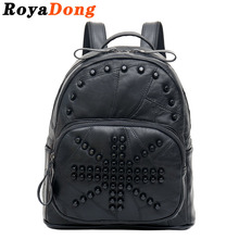RoyaDong Genuine Leather Backpack Women Back Pack Black Small Sac Dos Rucksack Mochila Feminina Bag - Roya's Backpacks And School Bags store