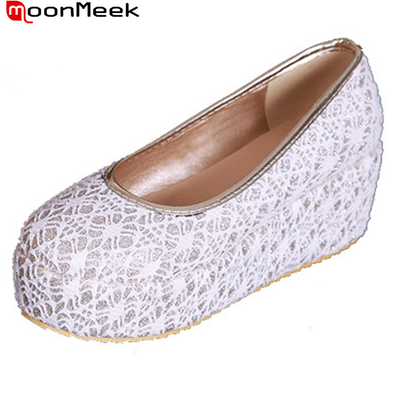 new black white wedges high heels platform shoes lace women pumps round toe sweet leisure high quality ladies casual shoes women(China (Mainland))