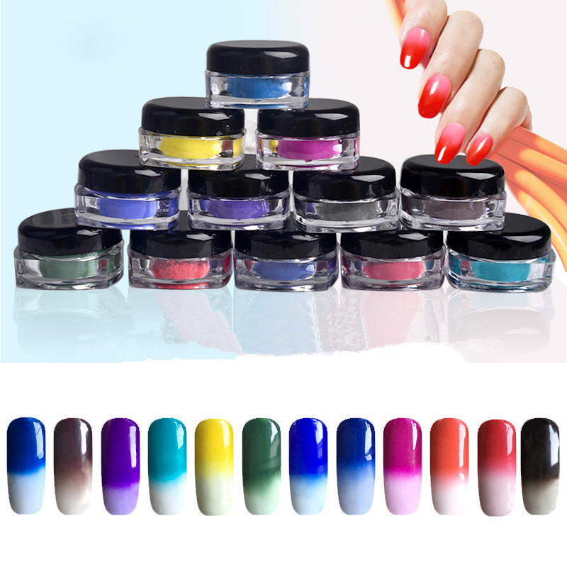 2g/Box Color Change Glitter Powder Thermal Pigment 1g Temperature Manicure Nail Art Gradient Powder BW3689(China (Mainland))