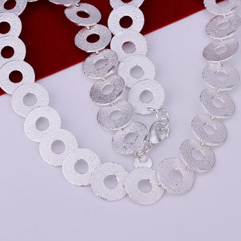 N115 high quality! free shipping wholesale 925 silver necklace, 925 silver fashion jewelry Mesh Shape O Necklace