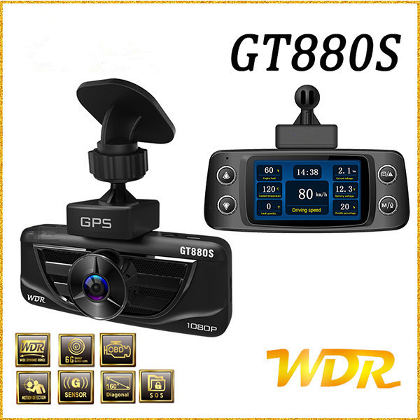 TOP DVR Shadow Camera GT880S Car dvr camera Full HD 1080P OBD Car Charger Built-in GPS Logger WDR Car Number Parking Monitor(China (Mainland))