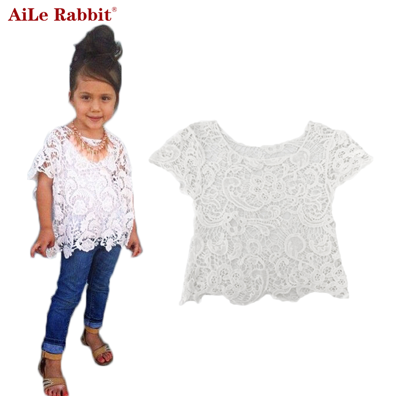 AiLe Rabbit Children Girl white T Shirt Fashion hollow flowers tops Girls T Shirts Cotton High Quality Kids clothes Clearance(China (Mainland))