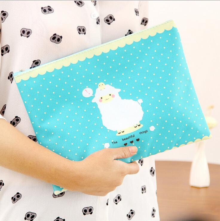 1 Piece New lovely Lamb A4 pouch bag case paper cute Korean Office School Filing Products Document 4 Colors(China (Mainland))