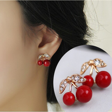 2015  New Fashion Lovely Red cherry earrings rhinestone leaf bead stud earrings for woman jewelry(China (Mainland))