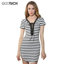 Buy Summer Fashion Women's Deep V Neck Striped Dress Sexy Crossed Belt Club Women Elegant Slim Evening Party Sexy Mini Dress AM 006 for $9.99 in AliExpress store