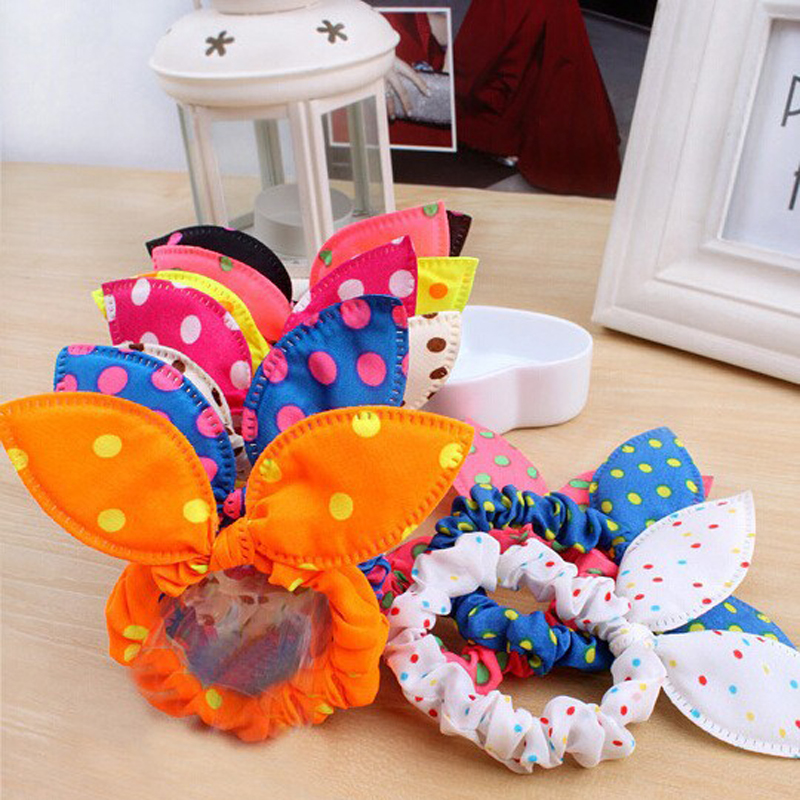 8Pcs/Lot Cute Women Flower Hair Elastic Rubber Bands Headbands Rabbit Ear Dot Headwear Elastic Hair Band Hair Ties Rope Scrunchy(China (Mainland))