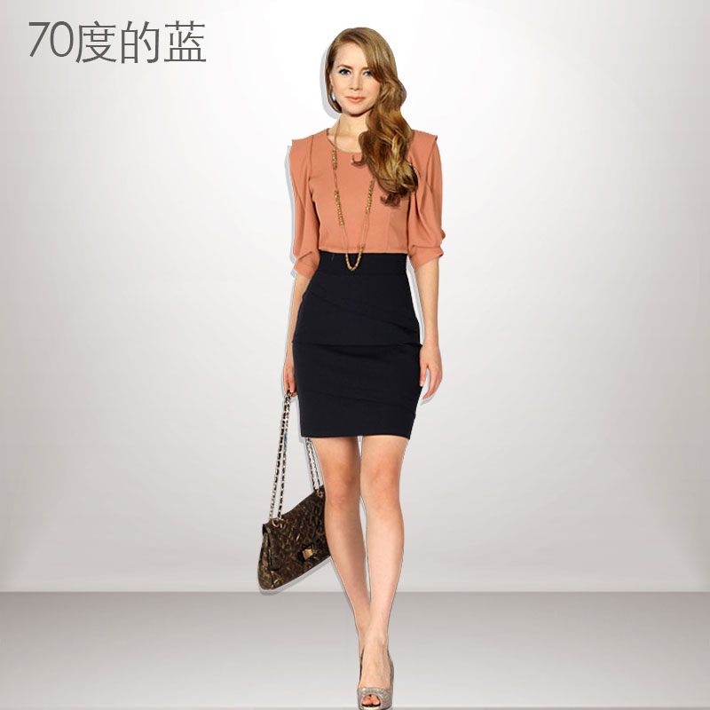 2013 color block slim waist chiffon one-piece dress hip slim one-piece dress fashion women's