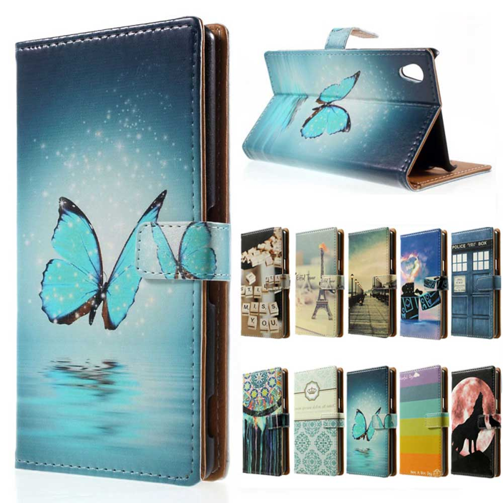 for sony xperia e5 case blue butterfly magnetic wallet. Black Bedroom Furniture Sets. Home Design Ideas