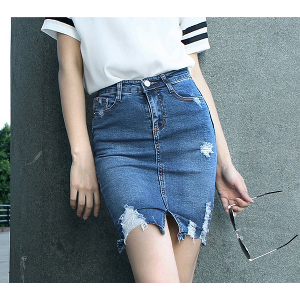 Ripped Jean Skirts - Jeans Am