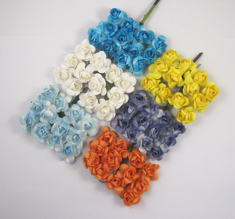 24pcs/lot Scrapbooking artificial Mulberry Paper Rose Bouquet wire stem wedding flower 027021008(China (Mainland))