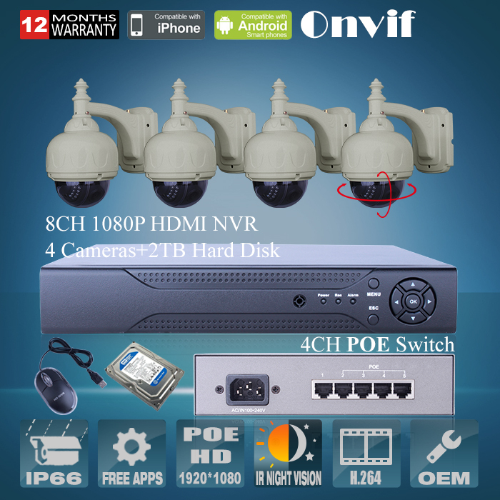 8Ch H.264 NVR CCTV System 2TB HDD 4CH POE Switch Onvif 1080P 2.0 Megapixel HD 22 IR Pan Tilt Outdoor Dome POE IP Network Camera<br><br>Aliexpress