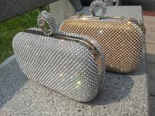 2015 Rhienstone Bridal Clutch Bag Gold Crystal Wedding Handbag Lady fashion Silver Minaudiere Evening Party Prom