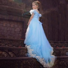 HFT Summer Style Cinderella lace Girl Dress Princess Elsa Dress minions anna Children Christmas Snow Queen Cosplay Costume 2-12T