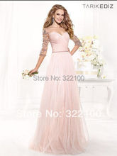 Robe De Soiree 2016 Evening Gowns New Fashion Light Pink Long Tarik Ediz Evening Dresses 2014 Semi Formal Dresses Sleeves