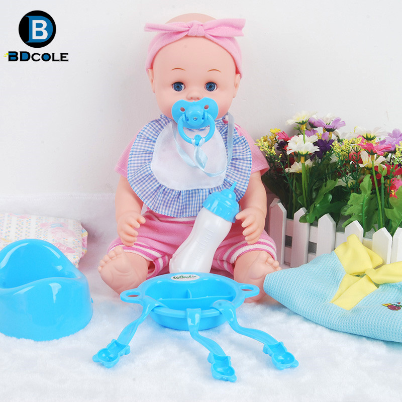 BDCOLE 15inches IC Sound Reborn Baby doll boy and girl Pretend Play Toy Blue Pink Nipple Tableware Clothe Accessories Kids Gift(China (Mainland))