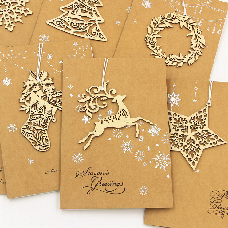 8 sets of Business Handmade Christmas Cards,6 Designs Wood Laser Cut Ornament Christmas Greeting Cards For Sale(China (Mainland))