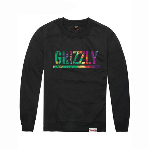 2016 Fashion deal Grizzly Crewneck Hoodies men T-PUDS GRIPTAPE printed dazzle Sweatshirt unisex hiphop hoodie,ZA115(China (Mainland))