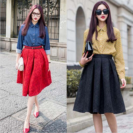 2015 New women skirts High Waist Ball Gown Vintage Red Floral ...