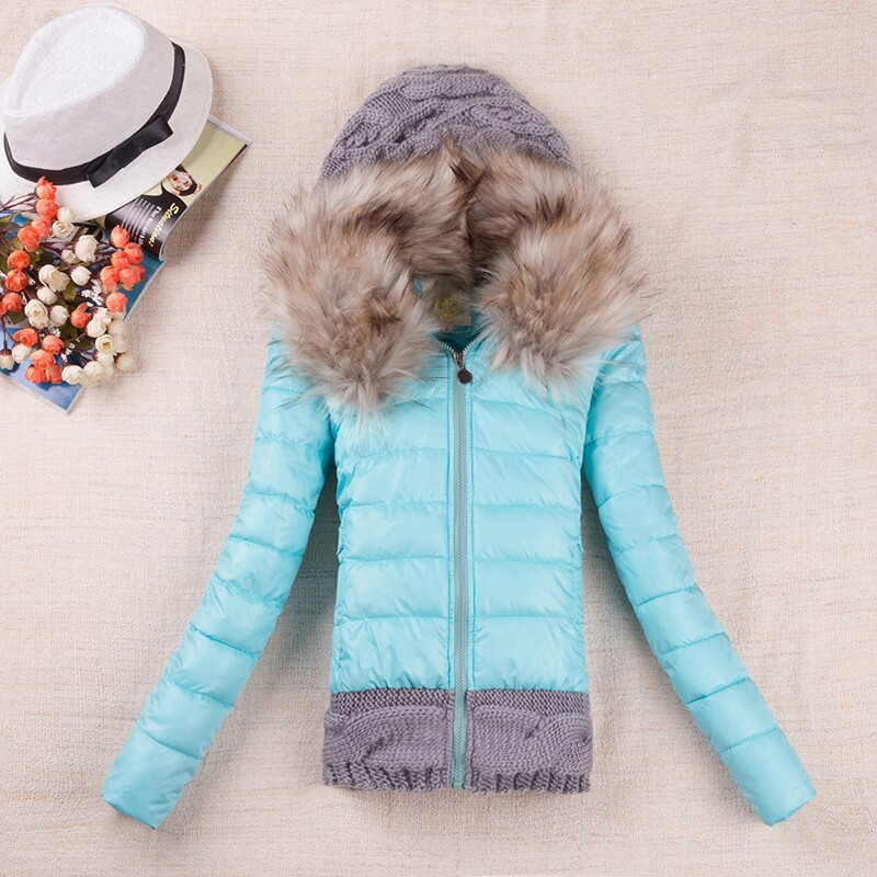 2014 Women's Down & Parkas Cotton Jacket Female Cotton-padded Coat Winter Large Fur Collor With Hoody Plus Size M-3XL(China (Mainland))