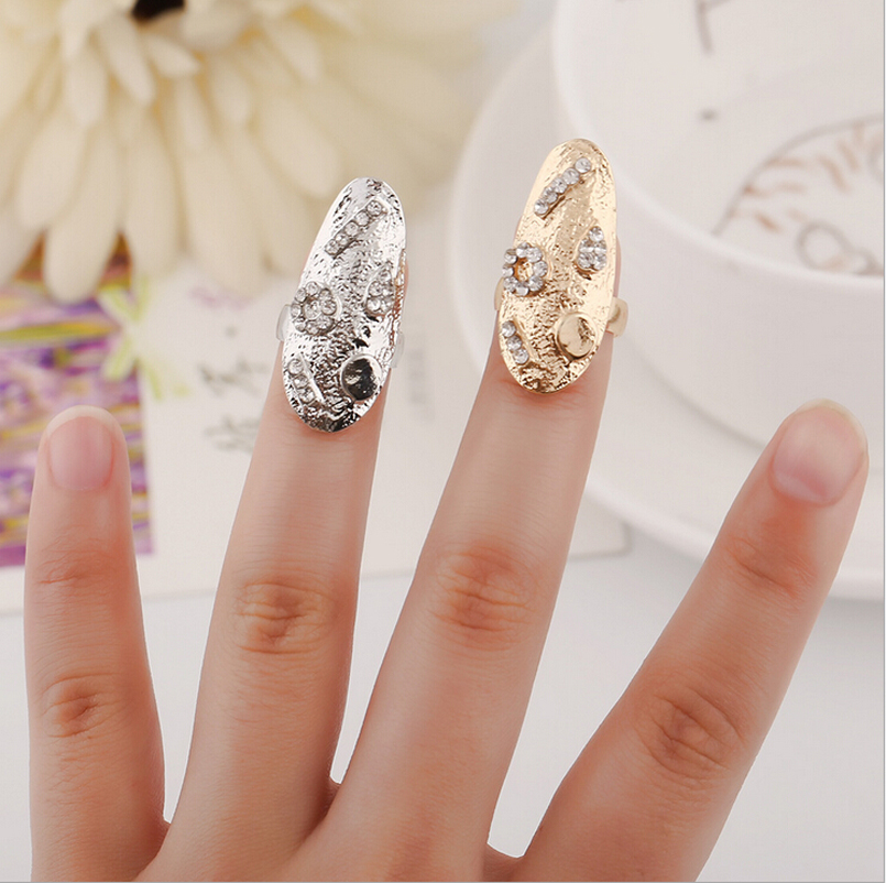 New Trendy Creative Geometric Rhinestone Crystal Ring Opening Silver Gold Top Of Finger Tip Cover Nail Rings For Women Size 3(China (Mainland))