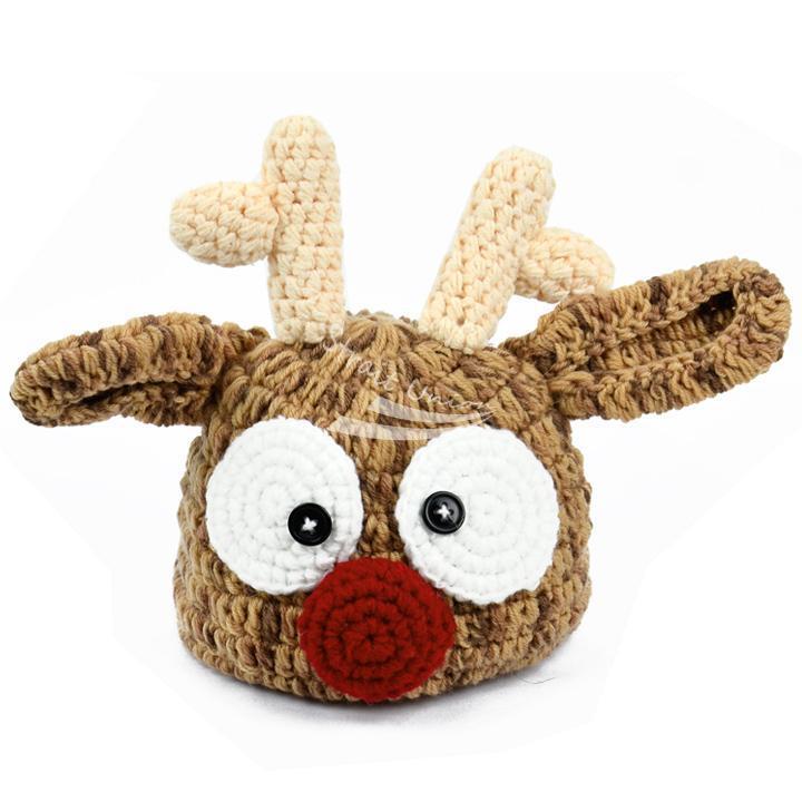 Baby Infant Toddler Deer Pattern Handmade Crochet Knit Beanie Hat Photo Prop Cap(China (Mainland))