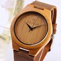 2016 top brand popular Men s Bamboo Wooden watch nature Bamboo quartz Watch Real Leather Strap