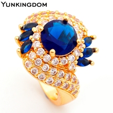 Yunkingdom Glittering Jewelry Blue Cubic Zirconia 18K Gold Filled Women's Party Show Rings Birthday Gifts ALP0240