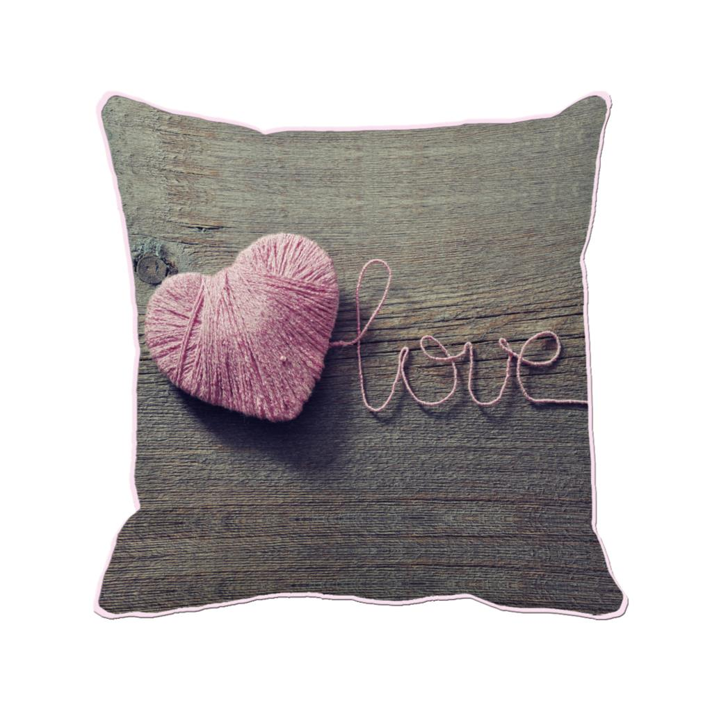 pink woolen yarn heart shape with love printed customized brown cushion cover wedding home and sofa