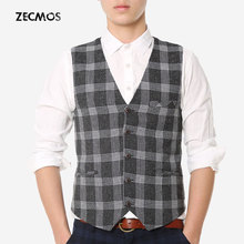 Plaid Vest For Men Outdoor Men Synthetic Waistcoat Journalist Photography Clothing Check Gingham Spring Gray Teens College(China (Mainland))