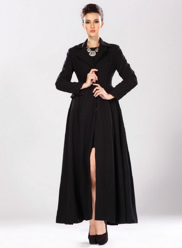 Elegance Women Warm Black Jacket Woolen Temperament Winter Coat Overcoat(China (Mainland))