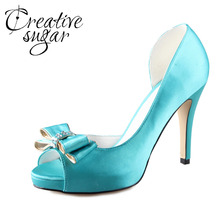 Creativesugar Handmade turquoise aqua blue D'orsay bow bowknot shoes custom made pumps wedding party prom open toe dress shoes(China (Mainland))